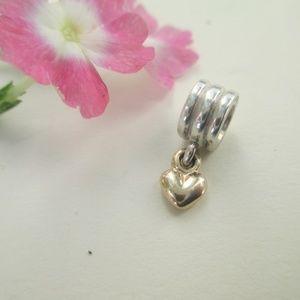 Pandora Silver &14k gold dangle heart charm